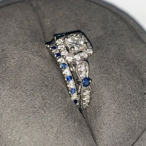 Diamond and sapphire Vera Wang wedding set.